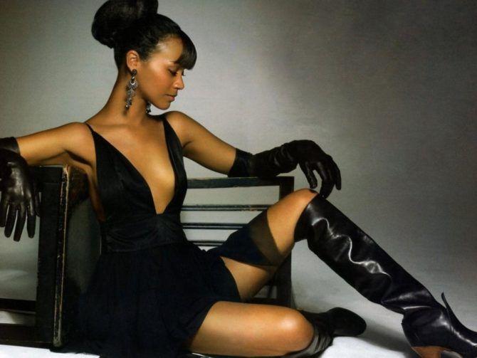 Зои Салдана фото в чёрном платье