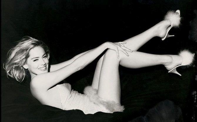 Шэрон Стоун чёрно-белое фото