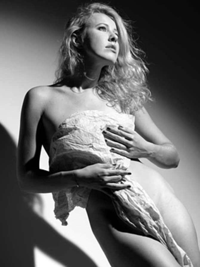 Ксения Собчак фото с тканью