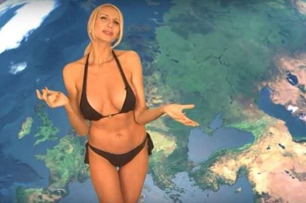 Лариса Сладкова кадр из прогноза погоды в бикини