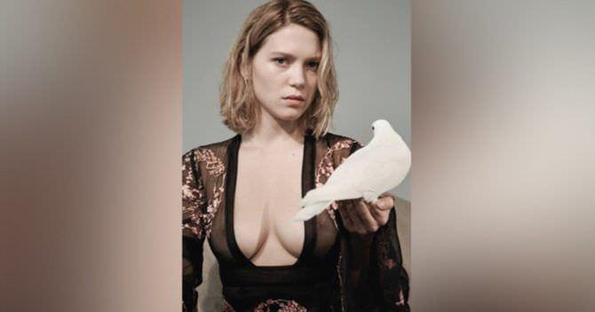 Леа Сейду фотография в кружевах с голубем