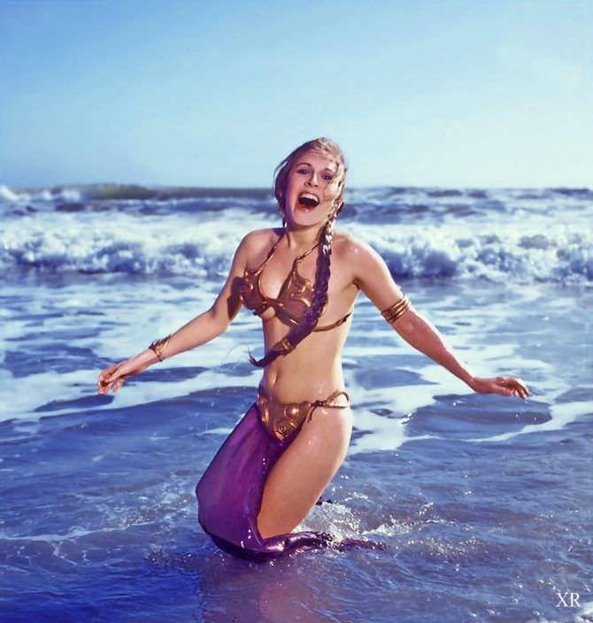 Кэрри Фишер фотография Леи в волнах