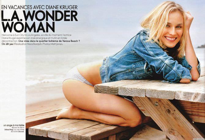 Диана Крюгер фотография из журнала на пляже
