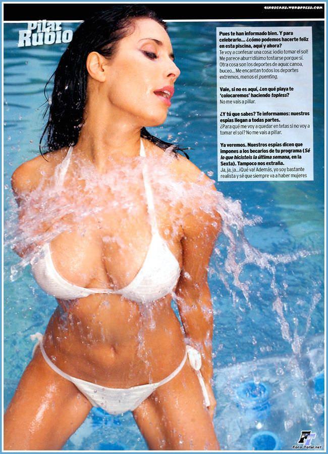 Пилар Рубио фотосессия в белом бикини