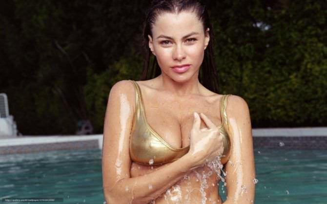 София Вергара фото в золотом купальнике