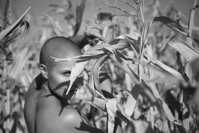 Марина Вовченко чёрно-белое фото в поле