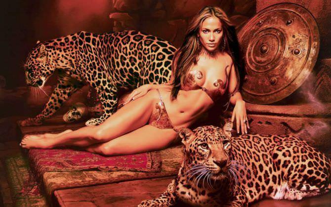 Дженнифер Лопес фотосессия с леопардами