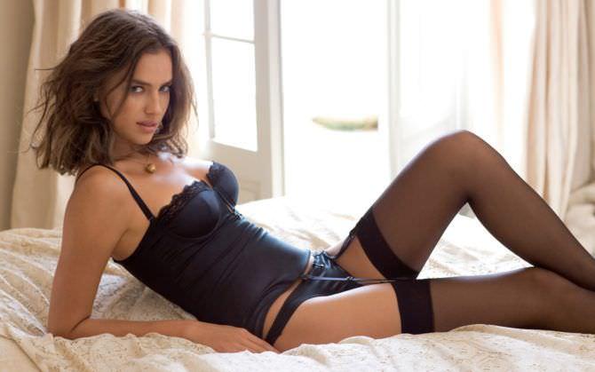 Ирина Шейк фотосессия в чёрном белье