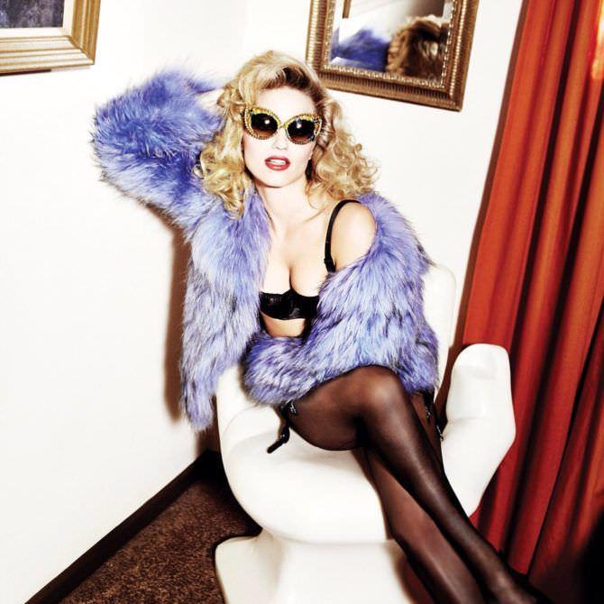 Дианна Агрон фото в синей шубке