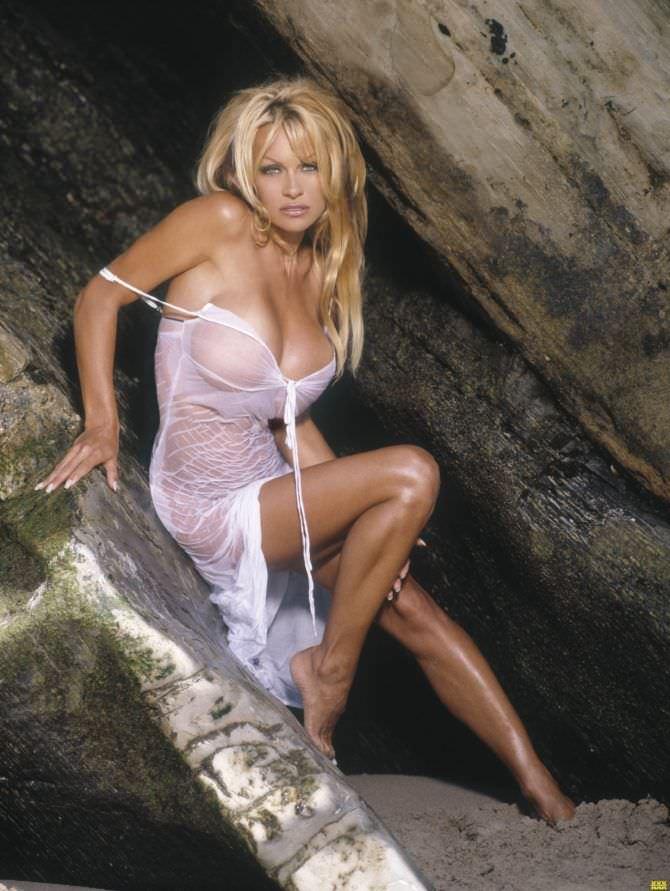 Памела Андерсон фотосессия в мокром платье