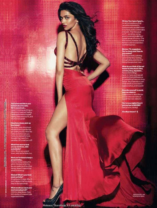 Дипика Падуконе фото в красном платье
