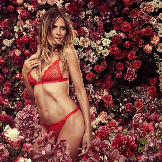 Хайди Клум фото в белье среди роз