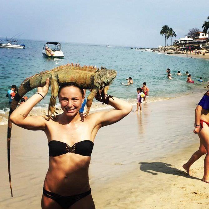 Бриана Эвиган фото на пляже с ящерицей