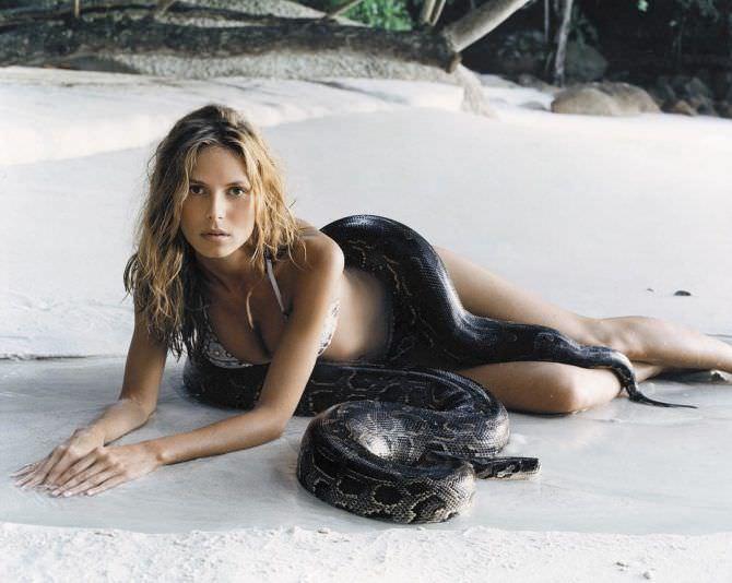 Хайди Клум фотосессия со змеёй