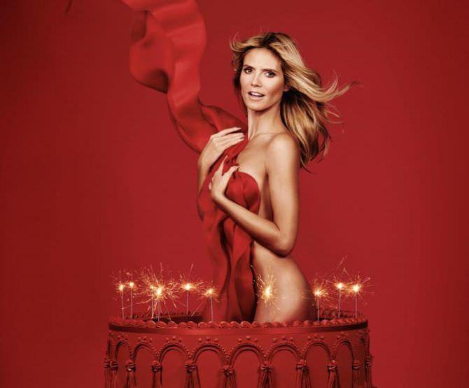 Хайди Клум фото выпрыгивающей из торта