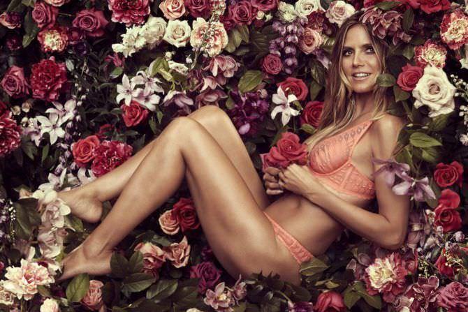 Хайди Клум фотосессия с цветами в белье