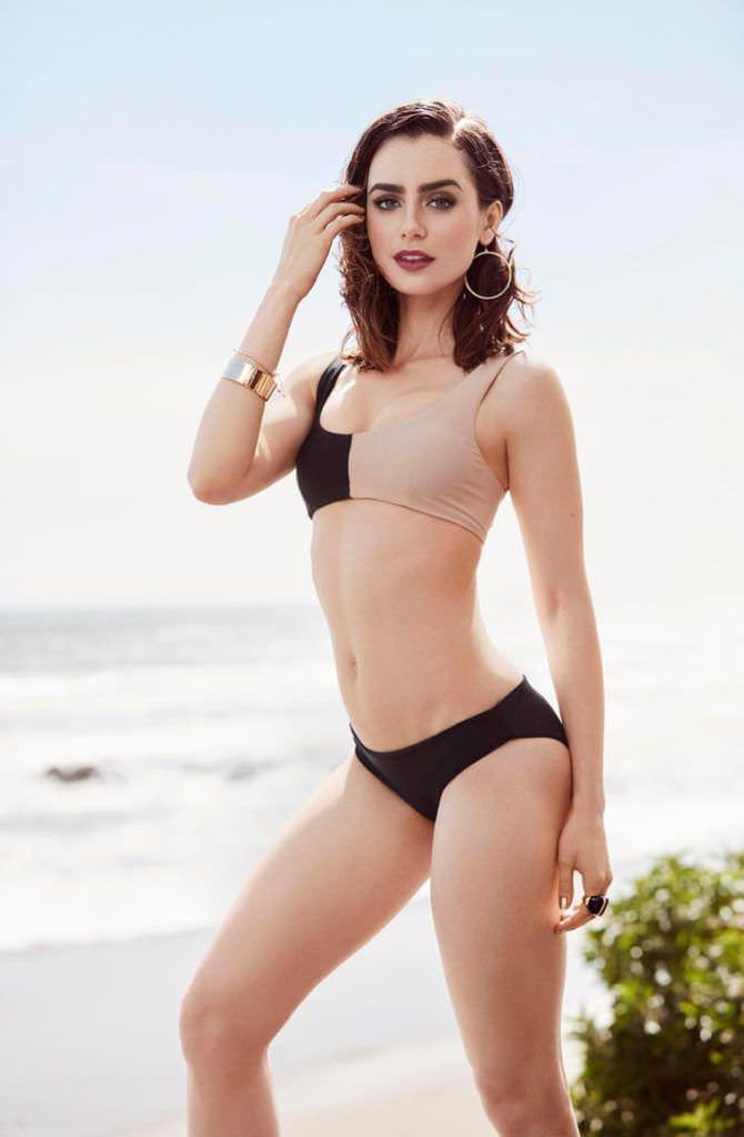 Лили Коллинз фотография в бикини на пляже