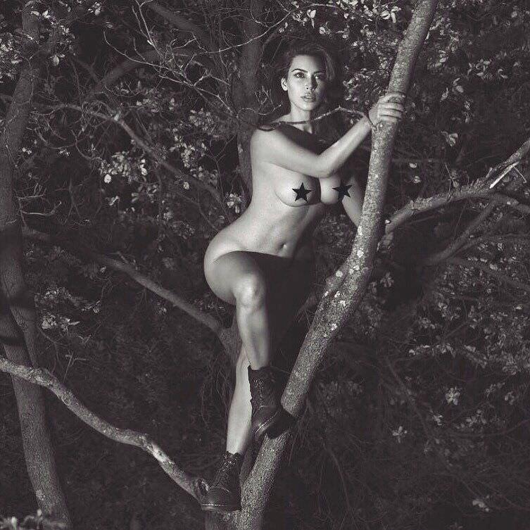 Ким Кардашян фото на дереве