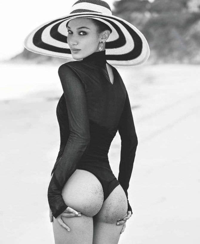Белла Хадид фотография в широкополой шляпе