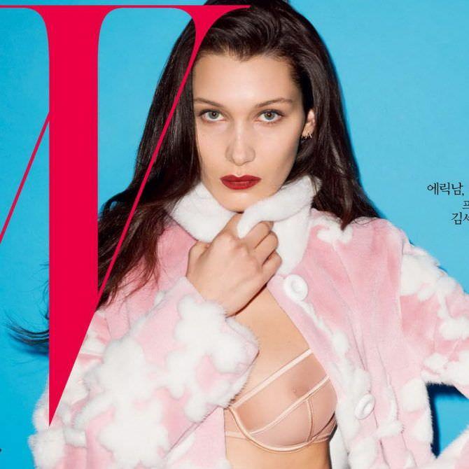 Белла Хадид фото для журнала в белье и шубе
