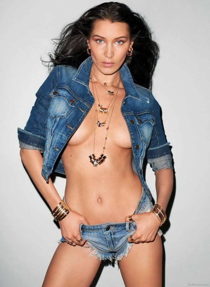 Белла Хадид фотосессия в синей джинсовке