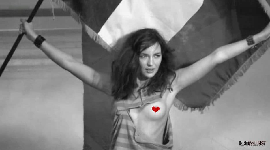 Луиз Бургуан фото с флагом