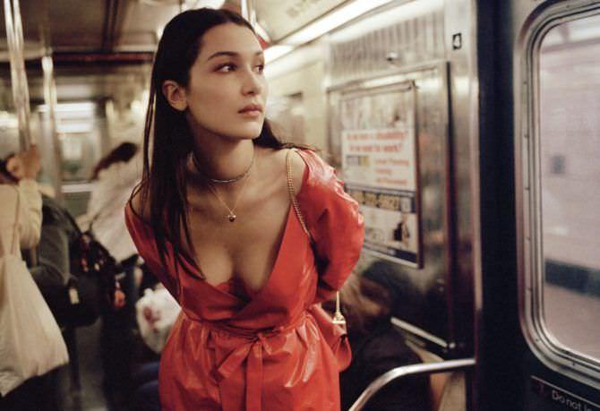 Белла Хадид фотография в красном платье