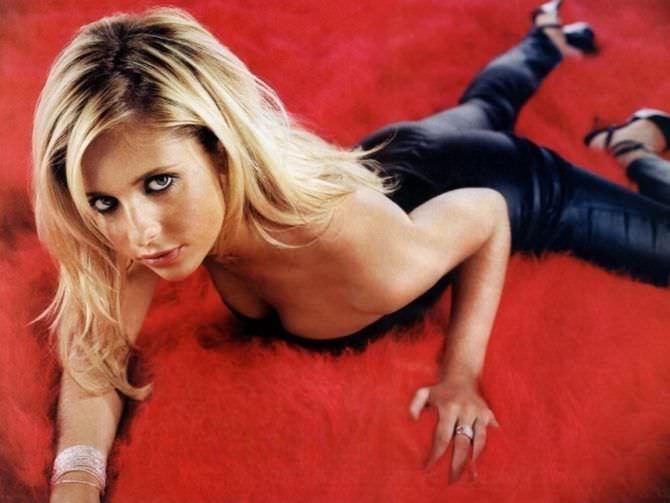Сара Мишель Геллар фото в чёрных брюках