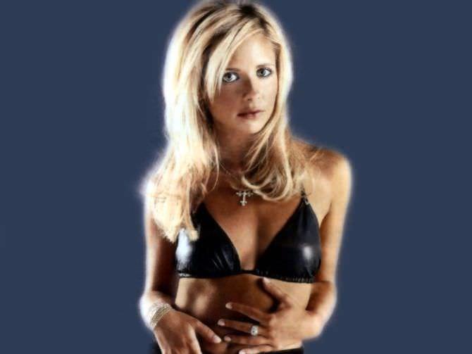 Сара Мишель Геллар фотография в чёрном бикини