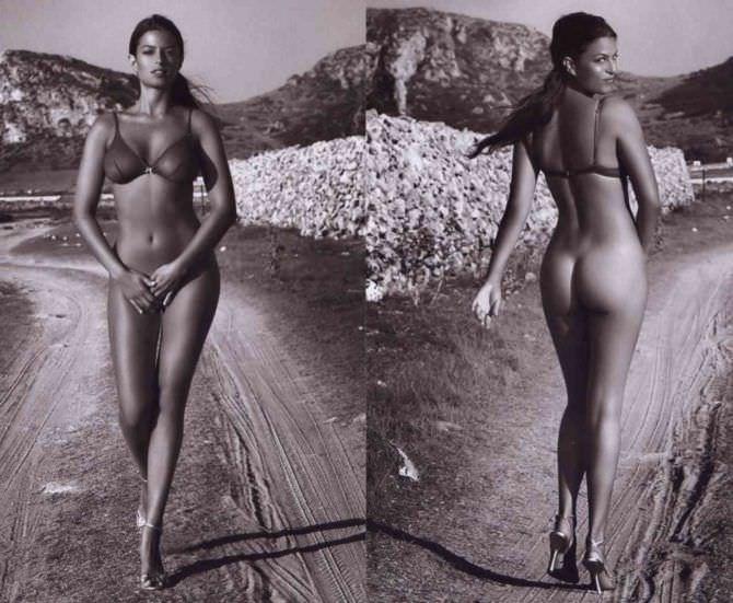 Сара Томмази фотосессия в белье на дороге