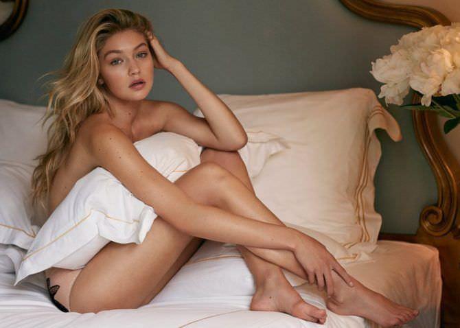 Джиджи Хадид фото в постели с подушкой