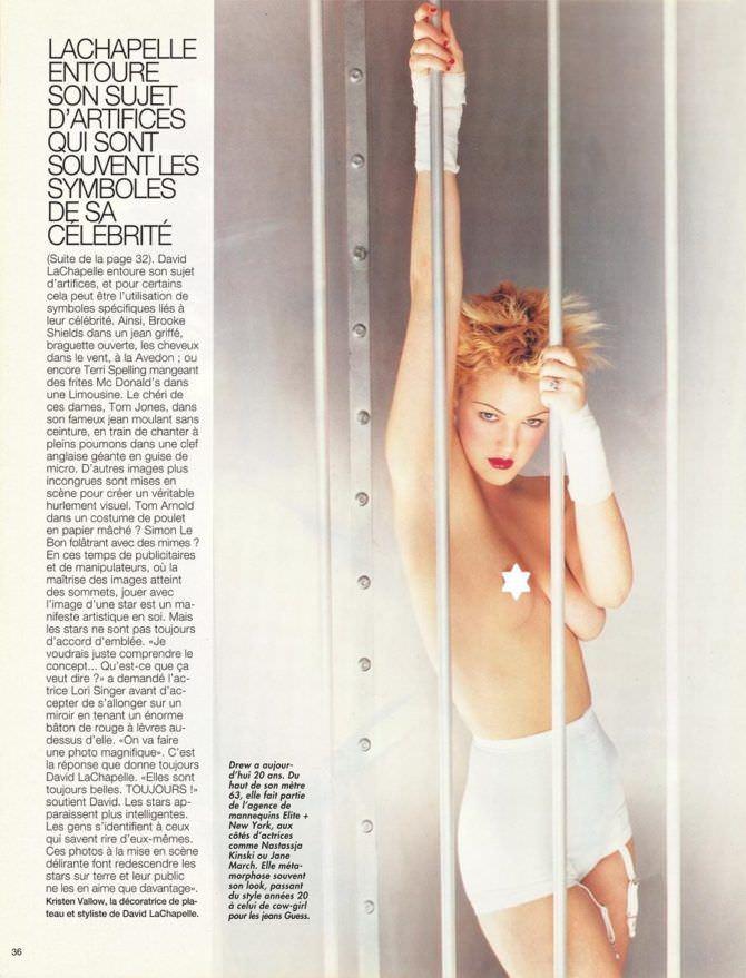 Дрю Бэрримор фотография в белых шортах в журнале
