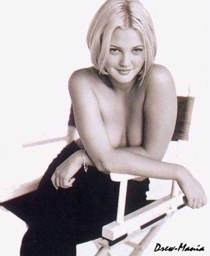 Дрю Бэрримор фотография на стуле из журнала