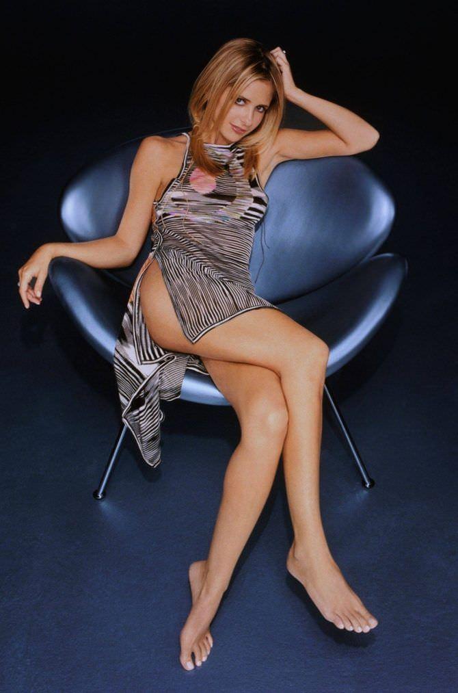 Сара Мишель Геллар фотография в сером платье